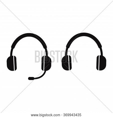 Headphone Headset Icon Good For Audio Gadget, Support, Call Center. Headphones With Microphone. Head