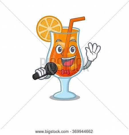 Cartoon Character Of Mai Tai Cocktail Sing A Song With A Microphone