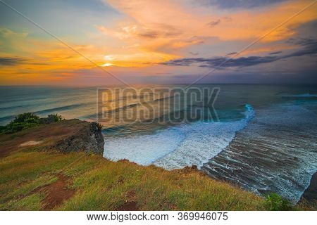 Breathtaking Seascape. Spectacular View From Uluwatu Cliff In Bali. Sunset Time. Blue Hour. Ocean Wi