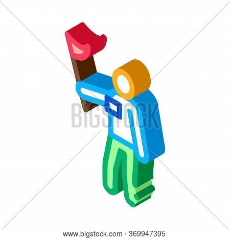 Leading Tourist Icon Vector. Isometric Leading Tourist Sign. Color Isolated Symbol Illustration
