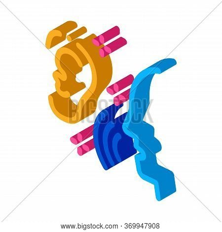 Listening To Human Singing Icon Vector. Isometric Listening To Human Singing Sign. Color Isolated Sy