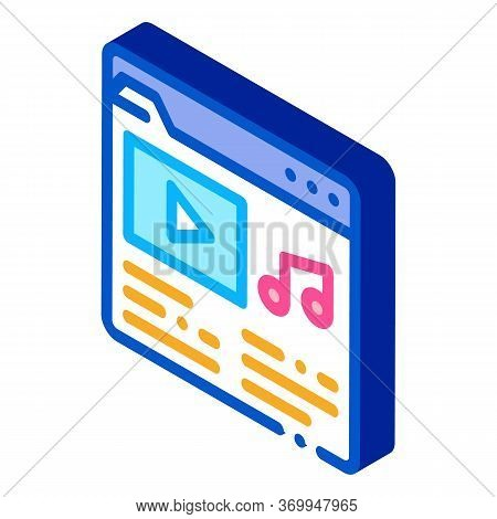Music Folder With Songs Icon Vector. Isometric Music Folder With Songs Sign. Color Isolated Symbol I