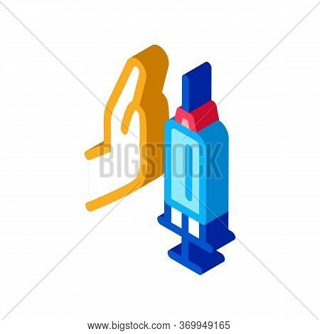 Injection Of Syringe In Hand Icon Vector. Isometric Injection Of Syringe In Hand Sign. Color Isolate