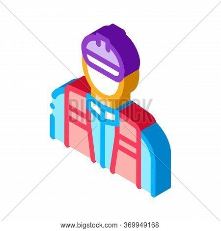Worker Repairman Icon Vector. Isometric Worker Repairman Sign. Color Isolated Symbol Illustration