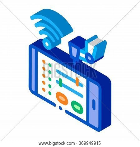 Telephone Settings Via Wi-fi Icon Vector. Isometric Telephone Settings Via Wi-fi Sign. Color Isolate