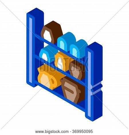 Cupboard With Clay Products Icon Vector. Isometric Cupboard With Clay Products Sign. Color Isolated