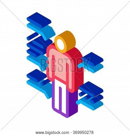 Study Of Human Functions Icon Vector. Isometric Study Of Human Functions Sign. Color Isolated Symbol