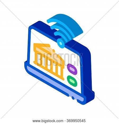Wi-fi Distribution Through Device Icon Vector. Isometric Wi-fi Distribution Through Device Sign. Col