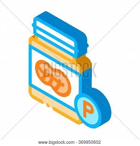 Bottle Of Fats Icon Vector. Isometric Bottle Of Fats Sign. Color Isolated Symbol Illustration