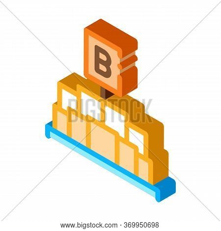 Pieces Of Butter Holding Letter B Sign Icon Vector. Isometric Pieces Of Butter Holding Letter B Sign