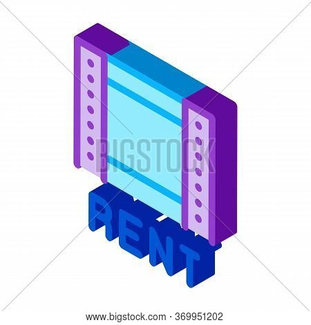Film Rent Icon Vector. Isometric Film Rent Sign. Color Isolated Symbol Illustration