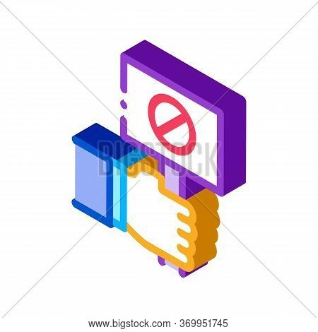 Flag Sign Indicating Protest Icon Vector. Isometric Flag Sign Indicating Protest Sign. Color Isolate