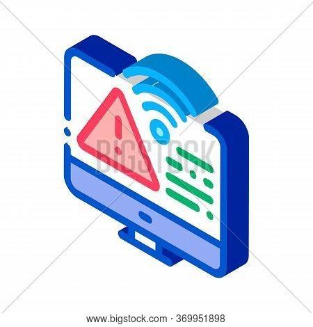 Wifi Error Icon Vector. Isometric Wifi Error Sign. Color Isolated Symbol Illustration