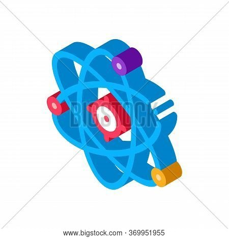 Atom Molecule Icon Vector. Isometric Atom Molecule Sign. Color Isolated Symbol Illustration