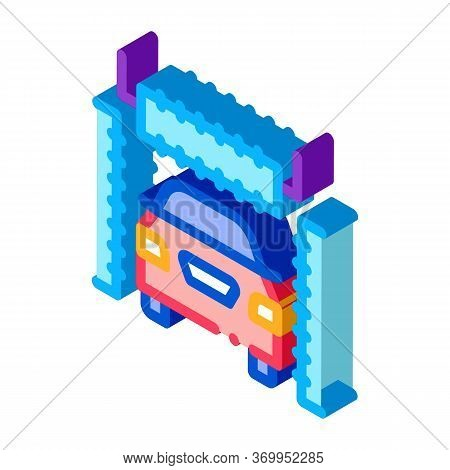 Automatic Car Wash Icon Vector. Isometric Automatic Car Wash Sign. Color Isolated Symbol Illustratio