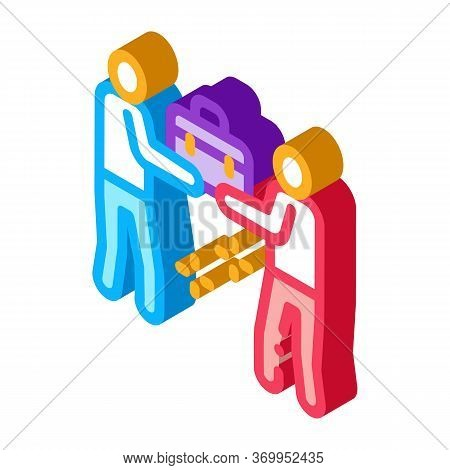 Common Work Of Two People Icon Vector. Isometric Common Work Of Two People Sign. Color Isolated Symb