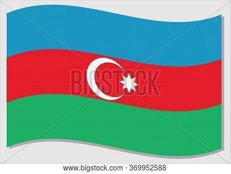 Waving Flag Of Azerbaijan Vector Graphic. Waving Azerbaijani Flag Illustration. Azerbaijan Country F