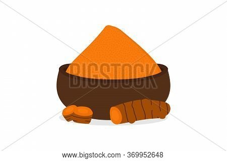 Turmeric Rhizome And Powder Vector Cartoon Style Illustration, Icon.