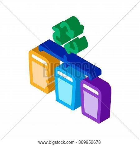 Garbage Distribution Icon Vector. Isometric Garbage Distribution Sign. Color Isolated Symbol Illustr