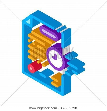Adjournment Of Trial Date Icon Vector. Isometric Adjournment Of Trial Date Sign. Color Isolated Symb