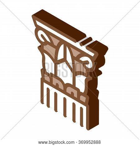 Threaded Greek Column Icon Vector. Isometric Threaded Greek Column Sign. Color Isolated Symbol Illus