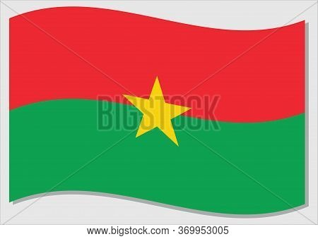 Waving Flag Of Burkina Faso Vector Graphic. Waving Burkinabe Flag Illustration. Burkina Faso Country