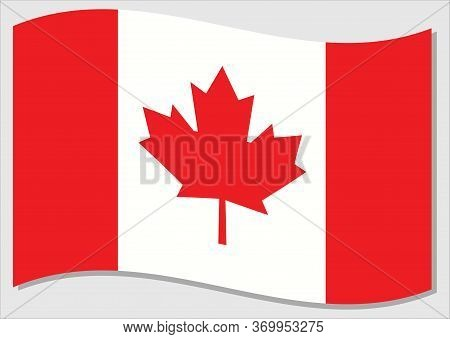 Waving Flag Of Canada Vector Graphic. Waving Canadian Flag Illustration. Canada Country Flag Wavin I