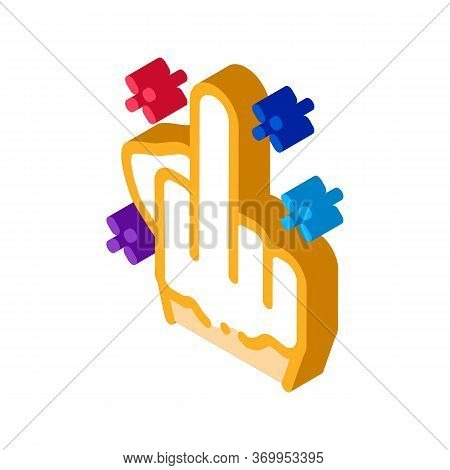 Third Finger Gesture Icon Vector. Isometric Third Finger Gesture Sign. Color Isolated Symbol Illustr
