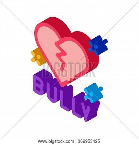 Bully Broken Heart Icon Vector. Isometric Bully Broken Heart Sign. Color Isolated Symbol Illustratio