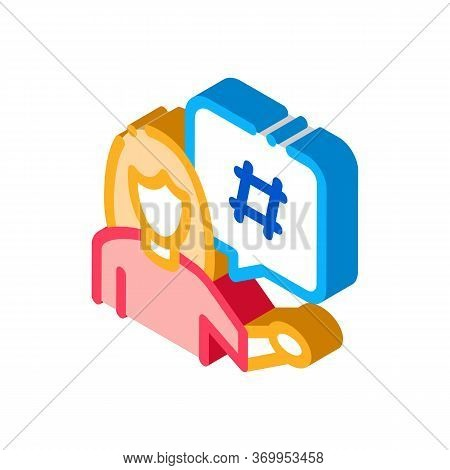 Female Discontent Icon Vector. Isometric Female Discontent Sign. Color Isolated Symbol Illustration