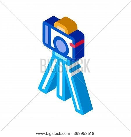 Video Camera With Tripod Icon Vector. Isometric Video Camera With Tripod Sign. Color Isolated Symbol