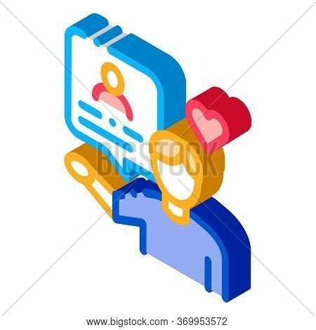 Conversation About Loved One Icon Vector. Isometric Conversation About Loved One Sign. Color Isolate
