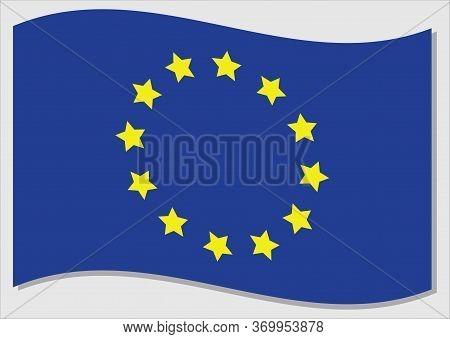Waving Flag Of European Union Vector Graphic. Waving Eu Flag Illustration. European Union Country Fl