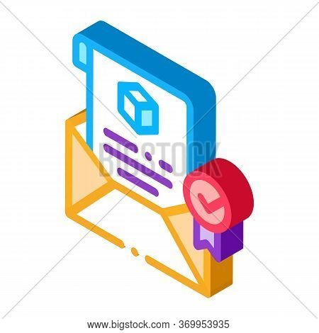 Parcel Notification Letter Icon Vector. Isometric Parcel Notification Letter Sign. Color Isolated Sy
