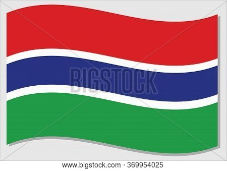 Waving Flag Of Gambia Vector Graphic. Waving Gambian Flag Illustration. Gambia Country Flag Wavin In