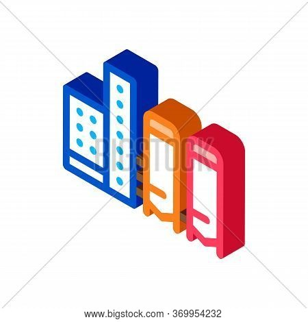 Thermal Towers With Heat Towers Icon Vector. Isometric Thermal Towers With Heat Towers Sign. Color I