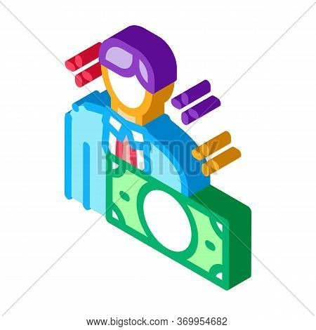 Man Gets Money Icon Vector. Isometric Man Gets Money Sign. Color Isolated Symbol Illustration