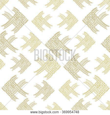 Abstract Thai Carp Fish Weave Or Japanese Origami Style, Vector Illustration Background, Seamless Pa