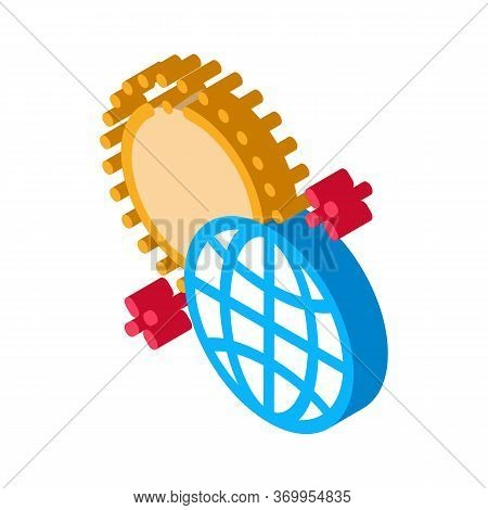 Rotation Of Earth Around Sun Icon Vector. Isometric Rotation Of Earth Around Sun Sign. Color Isolate