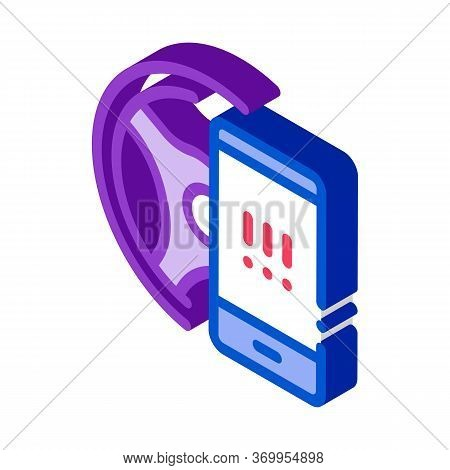 Distracting Phone While Driving Icon Vector. Isometric Distracting Phone While Driving Sign. Color I