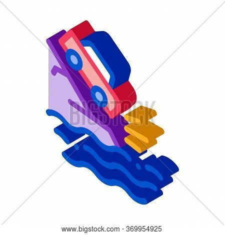 Cliff Flying Car Icon Vector. Isometric Cliff Flying Car Sign. Color Isolated Symbol Illustration