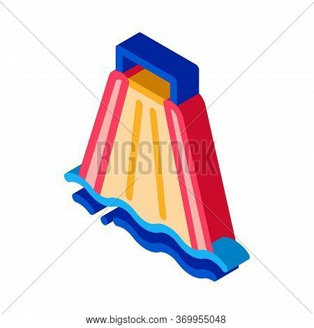 Slide For Going Down To Pool Icon Vector. Isometric Slide For Going Down To Pool Sign. Color Isolate