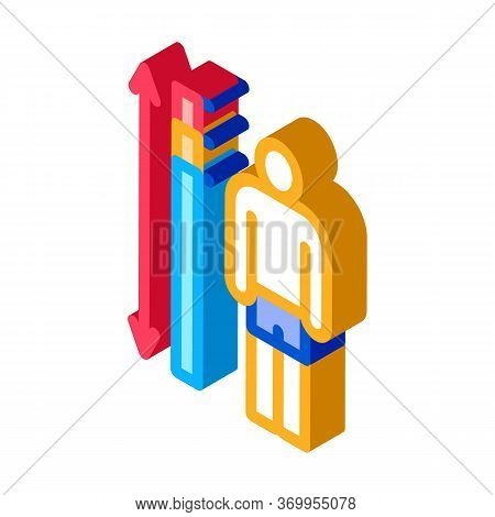 Human Height Measurement Icon Vector. Isometric Human Height Measurement Sign. Color Isolated Symbol