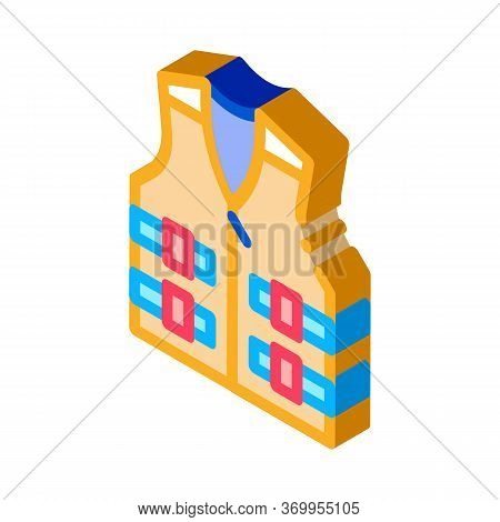 Life Vest Icon Vector. Isometric Life Vest Sign. Color Isolated Symbol Illustration