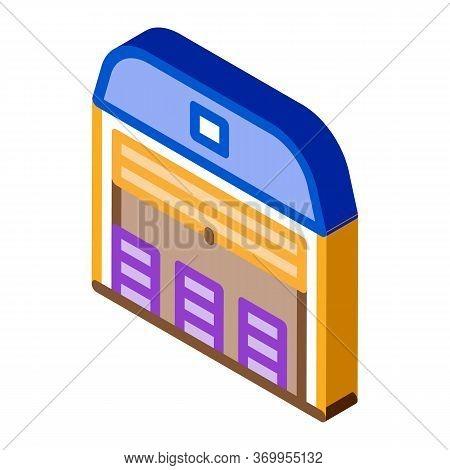 Storage Garage Icon Vector. Isometric Storage Garage Sign. Color Isolated Symbol Illustration