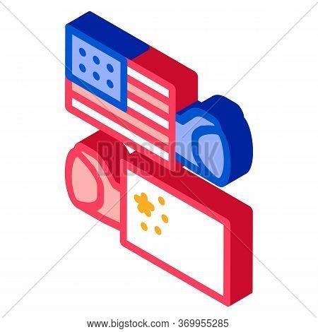 Trade War Around World Icon Vector. Isometric Trade War Around World Sign. Color Isolated Symbol Ill