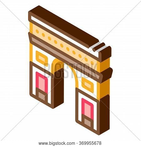 Gate Arch Saint Denis Icon Vector. Isometric Gate Arch Saint Denis Sign. Color Isolated Symbol Illus