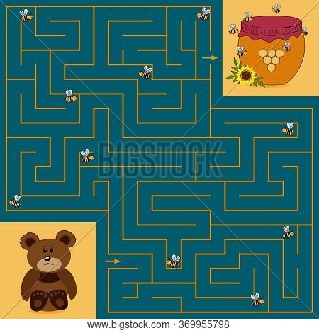 Bright Children's Maze For Children Where A Small Bear Cub Needs To Find The Right Way To A Jar Of H