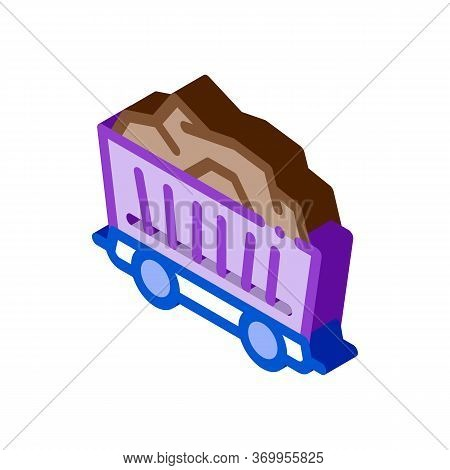 Coal Cart Icon Vector. Isometric Coal Cart Sign. Color Isolated Symbol Illustration