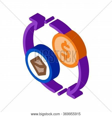 Selling Coal For Money Icon Vector. Isometric Selling Coal For Money Sign. Color Isolated Symbol Ill
